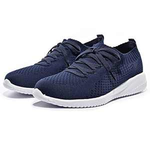 Breifola Women's Slip-On Walking Shoes Running Tennis Mesh-Comfortable Lightweight Sneakers 004-4-7 Navy