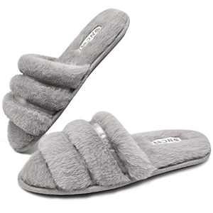 ONCAI Slides-for-Women-Fuzzy-Women's-Fluffy-House-Slippers Slip-on Soft Faux Fur Slippers for Women Open Toe Plush Furry Flat Memory Foam Anti-Slip Cute Slide Slippers Grey