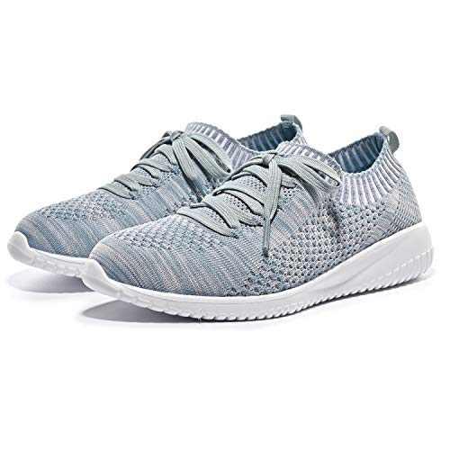Breifola Women's Slip-On Walking Shoes Running Tennis Mesh-Comfortable Lightweight Sneakers 004-12-9.5 Grey/Green