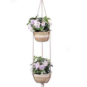 Delxo Hanging Planters Indoor and Outdoor, Natural Seagrass Hand Woven Wall Hanging Pots, Decor Hanging Basket for Plants Great for Garden Office Home Porch Balcony (8 Inch & 10 Inch)
