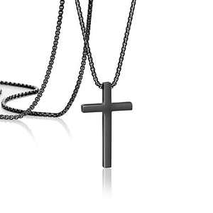 Cross Necklace for Boys Christian Religious Faith Serenity Baptism Jesus Christ Affirmation Prayer Baptism Black Pendant Stainless Steel Jewelry Gifts for Men Boys Dad 16 Inch