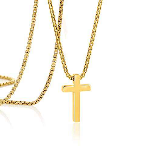 Gold Cross Necklace for Men Christian Religious Confirmation Baptism Fathers Day Christmas Jewelry Gift for Man Dad Husband Brother Uncle Teacher Classmates 24 Inch