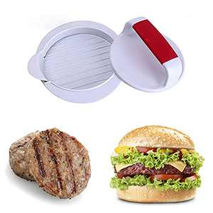 """NatldGs Hamburger Press Patty Maker Burger Press Mold Perfectly Sized 5"""" Burger Mold Rings Easy Release Round Hamburger Patty Press for Grill Accessories Set (1 Piece) White"""