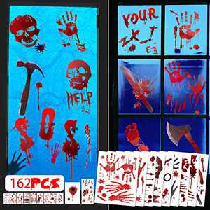 162 PCS Halloween Decorations Bloody Window Clings, Handprint Footprint Tattoo Stickers for Halloween Party Decor