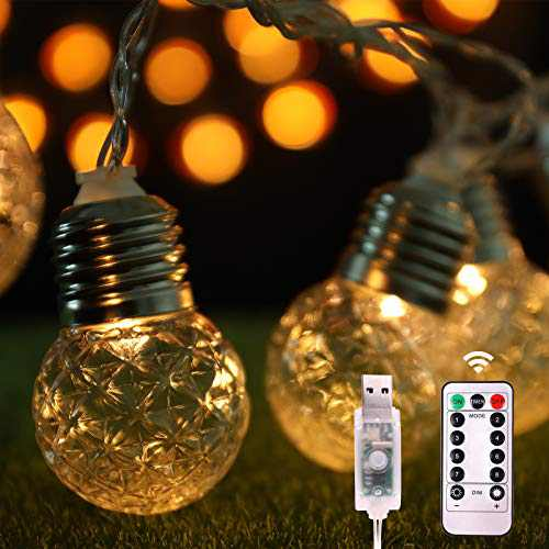 HAIPUSEN USB Pineapple Outdoor Lights String 19.68 FT 20 LED Light 3 Modes with Remote Controller,Waterproof Pineapple Outdoor Light Powered String Light for Garden Yard Home Party Wedding Decoration