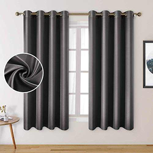 HOMEIDEAS 2 Panels Faux Silk Curtains Dark Grey Blackout Curtains for Nursery 52 X 63 Inch Room Darkening Satin Curtains for Bedroom, Thermal Insulated Blackout Window/Indoor Curtains for Living Room