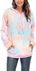 Women's Tie Dye Hoodies Lightweight Sweatshirt Long Sleeve Hooded Casual Drawstring Pullover Tops with Pocket Pink M