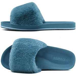 ONCAI Slides-for-Women-Fluffy-Furry-Women's-House-Slipper Slip-on Faux Fur Sandals Slipper Flat Fuzzy Cozy Anti-Slip Open Toe Slippers Blue