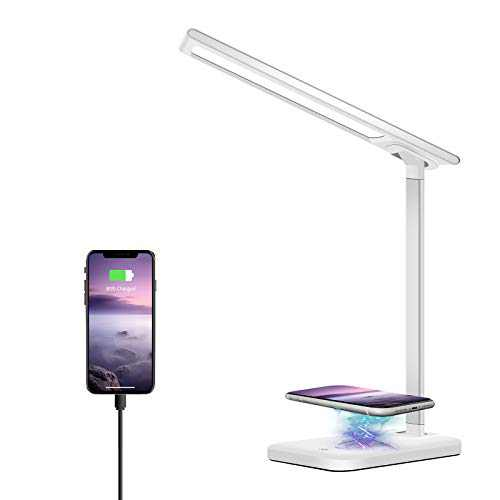LED Desk Lamp, FURANDE Desk Lamp with USB Charging Port, Wireless Charger, Dimmable Desk Light with 3 Lighting Modes, Eye-Caring Office Foldable Lamp, Touch Control, White (Adapter Included)