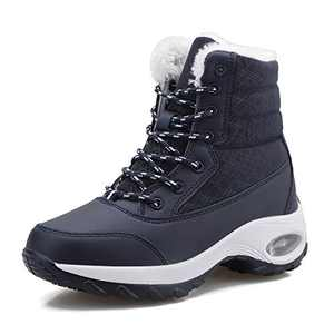 FJWYSANGU Womens Warm Snow Boots Plush Winter Shoes Air Cushion Ankle Boots for Outdoor Navy