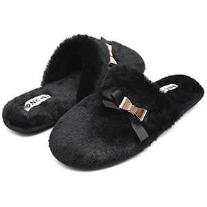ONCAI Slippers for Women House Memory Foam Fuzzy Fluffy Furry Womens Slippers Cozy Warm Faux Fur Bedroom Ladies Slippers,Black 6 US