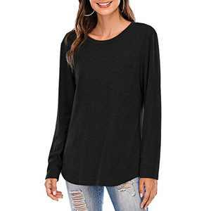 Women Short/Long Sleeve Tee Shirts Tunics Tops Comfy Casual Crew Neck Blouses Black