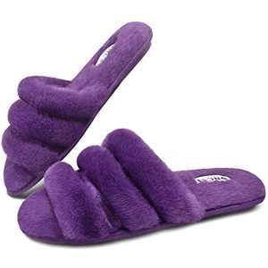 ONCAI Slides-for-Women-Fuzzy-Women's-Fluffy-House-Slippers Slip-on Soft Faux Fur Slippers for Women Open Toe Plush Furry Flat Memory Foam Anti-Slip Cute Slide Slippers Purple