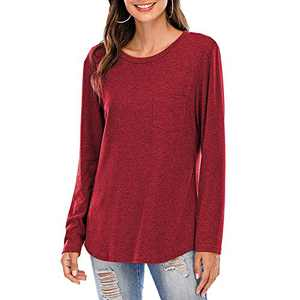 Women Short/Long Sleeve Tee Shirts Tunics Tops Comfy Casual Crew Neck Blouses Wine Red