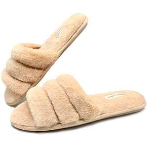 ONCAI Slides-for-Women-Fuzzy-Women's-Fluffy-House-Slippers Slip-on Soft Faux Fur Slippers for Women Open Toe Plush Furry Flat Memory Foam Anti-Slip Cute Slide Slippers Beige