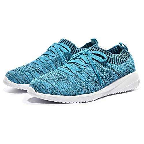 Breifola Women's Slip-On Walking Shoes Running Tennis Mesh-Comfortable Lightweight Sneakers 004-8-10 Black/Navy