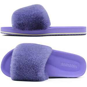 ONCAI Slides-for-Women-Fluffy-Furry-Women's-House-Slipper Slip-on Faux Fur Sandals Slipper Flat Fuzzy Cozy Anti-Slip Open Toe Slippers Purple