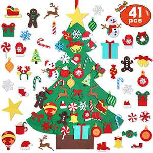 Garma DIY Felt Christmas Tree Set with 41PCS Kids Wall Hanging Detachable Ornaments, Felt Christmas Craft Kits Decorations for Toddler Xmas Gifts New Year Parties Supplies