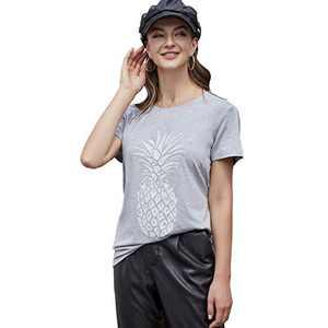 Pebeo Shirts Women Short Sleeves Summer Tee Shirts (Large, Light Grey)