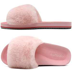 ONCAI Slides-for-Women-Fluffy-Furry-Women's-House-Slipper Slip-on Faux Fur Sandals Slipper Flat Fuzzy Cozy Anti-Slip Open Toe Slippers Light Pink