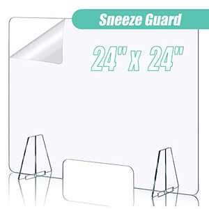 Sneeze Guard Portable Acrylic Plexiglass Sneeze Guard Shield for Counter Desk Protective Freestanding Shield with Transaction Window for Offices (24'' Wide 24'' High)