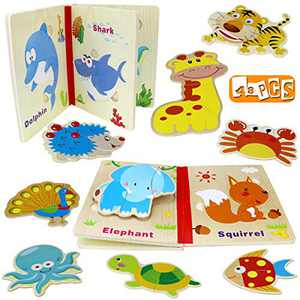 Yoego Wooden Toddler Puzzles Book Learning Toys, Montessori Educational Jigsaw Toys, Best Educational Toys Gifts for 1 2 3 Year Old Boys and Girls