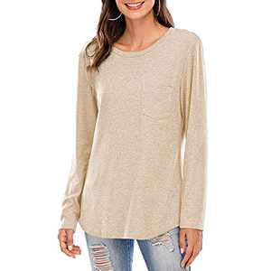 Women Short/Long Sleeve Tee Shirts Tunics Tops Comfy Casual Crew Neck Blouses Khaki