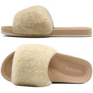 ONCAI Slides-for-Women-Fluffy-Furry-Women's-House-Slipper Slip-on Faux Fur Sandals Slipper Flat Fuzzy Cozy Anti-Slip Open Toe Slippers Beige