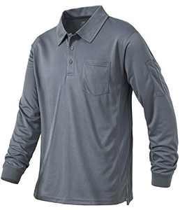 Tyhengta Mens Polo Shirt Long Sleeve Quick Dry Performance Lightweight Tactical Shirts Gray X-Large