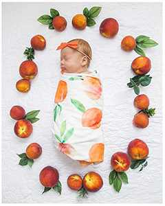 XMWEALTHY Baby Receiving Blankets Set Gifted Bowknot Infant Wrap and Headband Set Floral Receiving Blanket Girl Boy Orange