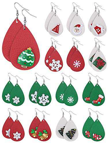15 Pairs Christmas Faux Leather Earrings Lightweight Faux Leather Earrings Teardrop Dangle Earrings