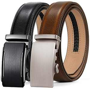 ITIEZY Leather Ratchet Dress Belt 2 Pack with Automatic Buckle Adjustable Click Sliding Belt for Men, Trim to Fit