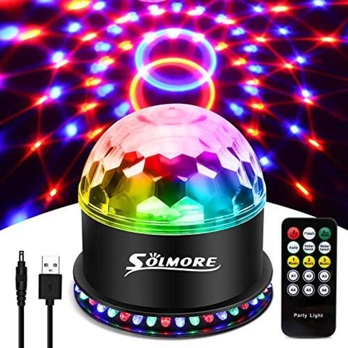 USB Disco Lights SOLMORE Party Stage Lights RGB Disco Ball Light Flashing Effects USB Cable 7 Colors 6 Light Modes Sound Activated Automatic Lighting Strobe for Kids Christmas Birthday Party Bar