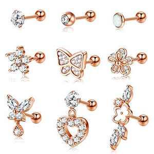 Jstyle 18G Stainless Steel Cartilage Earrings for Women Men Cubic Zirconia Stud Earring Helix Tragus Daith Conch Ear Piercing Jewelry