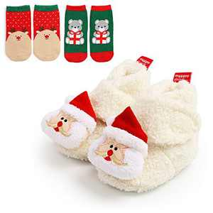 Baby Girls Boots, TMEOG Baby Fleece Cozy Boots Lovely Slippers Infant Toddler First Walkers Winter Warm Shoes + Cute Socks