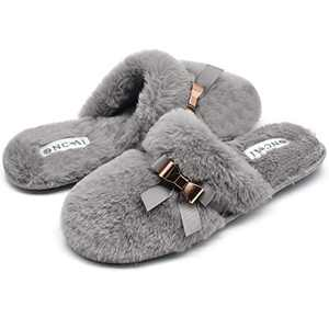 ONCAI Slippers for Women House Memory Foam Fuzzy Fluffy Furry Womens Slippers Cozy Warm Faux Fur Bedroom Ladies Slippers,Grey 7 US
