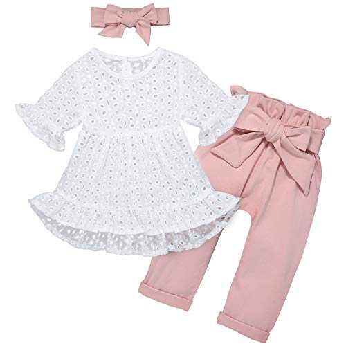 Newborn Toddler Baby Girl Summer Clothes Set Hollow Dress top Long Pants 3PCS Infant Outfits