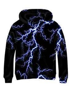 Linnhoy Youth Boys and Girls Black Sweatshirt 3D Graphic Print Pullover Kids Hoodies 6-8 Years, Medium