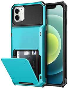 SAMONPOW Compatible with iPhone 12 Mini Case with 4 Card Holder Credit Card Holder Case Hard PC Soft Hybrid Rubber Anti Scratch Heavy Duty Case Compatible with iPhone 12 Mini 5.4 inch Sky Blue