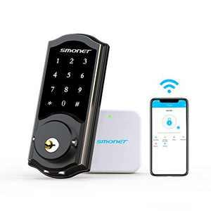 Smart Deadbolt,SMONET Smart WiFi Deadbolt, Digital Electronic Keyless Entry Door Lock Bluetooth Touchscreen Auto Lock with Gateway Hub, Work with Alexa,APP,Code,Key for Home Apartment Front Door,Black