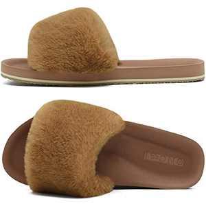ONCAI Slides-for-Women-Fluffy-Furry-Women's-House-Slipper Slip-on Faux Fur Sandals Slipper Flat Fuzzy Cozy Anti-Slip Open Toe Slippers Light Brown