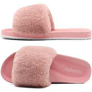 ONCAI Slides-for-Women-Fluffy-Furry-Women's-House-Slipper Slip-on Faux Fur Sandals Slipper Flat Fuzzy Cozy Anti-Slip Open Toe Slippers