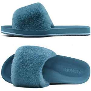 ONCAI Slides-for-Women-Fluffy-Furry-Women's-House-Slipper Slip-on Faux Fur Sandals Slipper Flat Fuzzy Cozy Anti-Slip Open Toe Slippers Blue