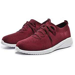 Breifola Women's Slip-On Walking Shoes Running Tennis Mesh-Comfortable Lightweight Sneakers 004-7-9 Wine Red