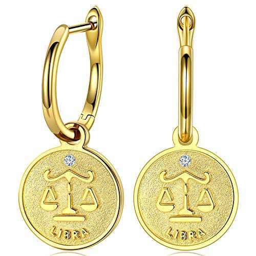 925 Sterling Silver Huggie Hoop Earrings,14K Champagne Gold Plated Constellation Dangle Hoop Earrings Cubic Zirconia Birthday Jewelry Gift for Women Girls