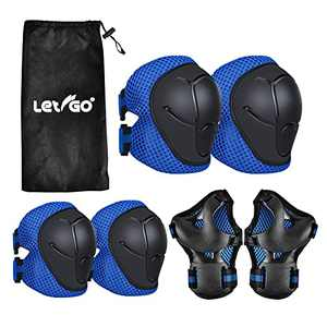 Letigo Kids Protective Gear 3-8 Years Old, Knee Pads Elbow Pads Wrist Guards 3 in 1 Set with Adjustable Strap for Cycling Biking Skateboarding Skating Inline Roller BMX Ski Scoote