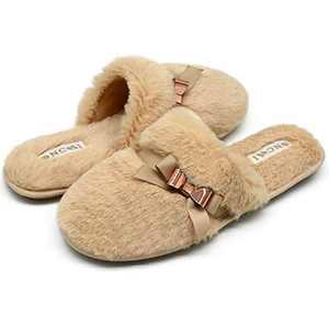 ONCAI Slippers for Women House Memory Foam Fuzzy Fluffy Furry Womens Slippers Cozy Warm Faux Fur Bedroom Ladies Slippers,Beige 8 US