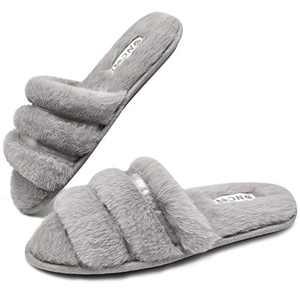 ONCAI Slides-for-Women-Fuzzy-Women's-Fluffy-House-Slippers Slip-on Soft Faux Fur Slippers for Women Open Toe Plush Furry Flat Memory Foam Anti-Slip Cute Slide Slippers Grey