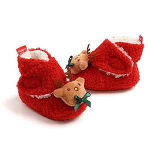 Baby Girls Boots, TMEOG Winter Toddler Boots Christmas Lovely Slippers Infant Toddler First Walkers Winter Warm Shoes