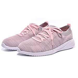 Breifola Women's Slip-On Walking Shoes Running Tennis Mesh-Comfortable Lightweight Sneakers 004-10-8.5 Grey/Pink